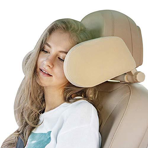 ACAMPTAR - Apoyo para reposacabezas de coche, almohada ajustable para asiento de coche, accesorios funcionales de viaje para adultos, reposacabezas de coche, reposacabezas de asiento de coche seguro (color crema)