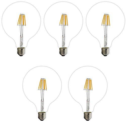 Lampadina LED G125 E27 4W 6W 8W 220V AC Caldo 2200K Lampadina Globo LED Filamento Bianco Diametro 125 mm Dimmerabile 6W Confezione da 1, Confezione Da 5, 6W, E27
