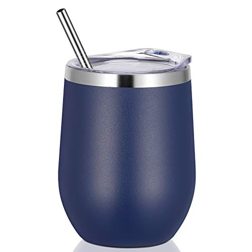 VEGOND 12oz Stainless Steel Wine Tumbler with Lid and Straw, Double Wall Vacuum Insulated Stemless Wine Glass Tumbler Cup, Coffee Mug for Cold Hot Drinks