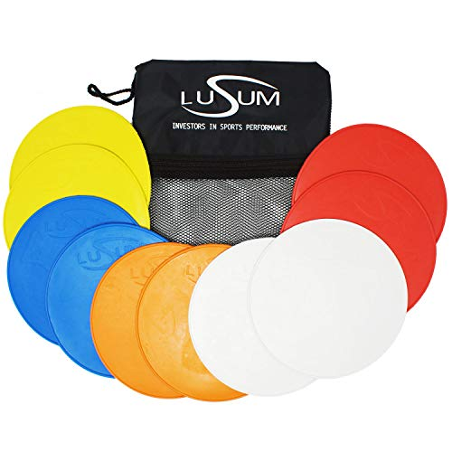 Lusum 10 Pack Large Full Sized Flexible Non Slip Pro Flat Round Rubber Sports Markers