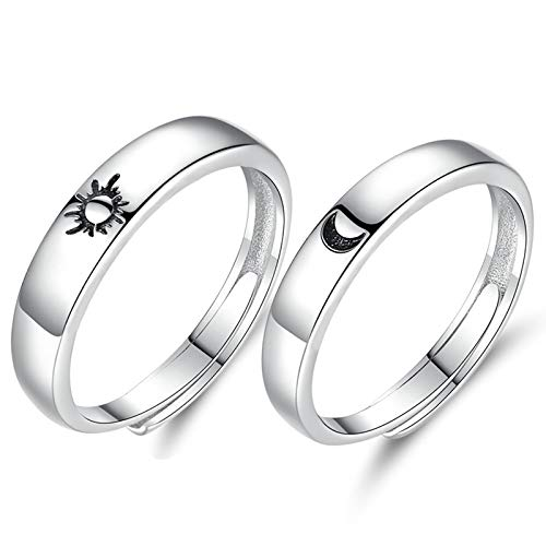 matching rings Beydodo 925 Sterling Silver Rings Engagement Couple Rings Sun and Moon 2In1 I Love You Rings Adjustable Custom
