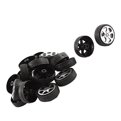 Spielzeug Raeder - TOOGOO(R) 20 Stk. Plastik Rolle 2mm Durchmesser Welle Auto LKW Modell Spielzeug Raeder 20mmx6mm