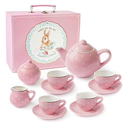 JewelKeeper - Servizio da tè per Bambine in Porcellana con Valigetta Giocattolo, 13 Pezzi - Disegno Pois Rosa