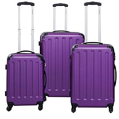 Goplus 3 Pcs Luggage Set Hardside Travel Rolling Suitcase ABS Globalway (Purple)