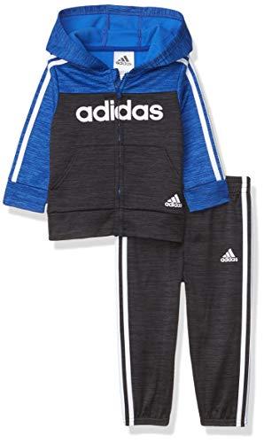 adidas Baby Boys' Li'l Sport Zip Front Hoodie & Sweatpants Clothing Set, Colorblock Team Royal, 18 Months