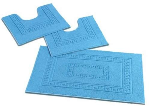 CASA TESSILE Torino Set 3 tappeti Bagno in Spugna, 1 cm 60X90 + 2 Girowater cm 60x45 - Bianco