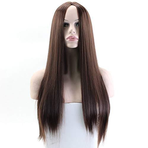 Peluca larga para mujer, moda, recta larga, resistente al calor, sinttica, en parte media, peluca, peluca de cosplay, pelucas de disfraz de nia para fiestas de disfraces Dark brown