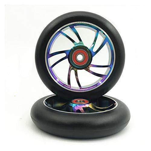 2pcs 120mm Freestyle Stub Scooter Roues avec hub d'alliage d'aluminium en Aluminium élastique 22 * 8 * 7mm roulements Roue Trotinette Freestyle 100mm (Color : Colorful 120mm S)