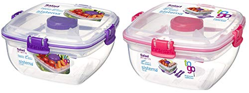 Sistema Speisebehälter Salatbox 2er Set pink und lila Hermetisch mit Besteck To Go 1100 ml SI21356