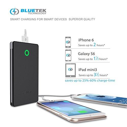TeckNet® PowerEx 1 6000mAh Externer Akku - Einbau-Ladekabel - 2-Port 3.4A Output Power Bank Ladegerät - Tragbare und externe USB-Akku-Aufladeeinheit mit BLUETEK Smart Charging Technology für Samsung Galaxy, HTC, Nokia, Google Nexus, LG, Android-Smartphones und Tablets