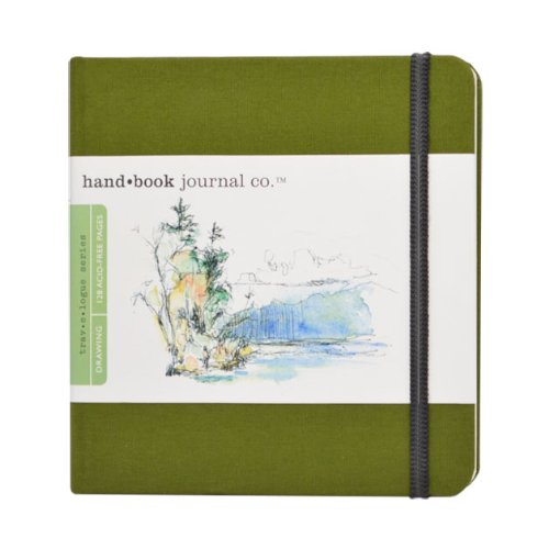 Speedball Travelogue Drawing Book, Square 5-1/2 x 5-1/2, Cadmium Green Artist Journal
