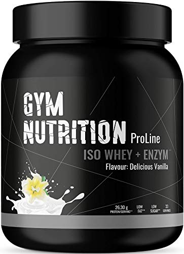 ENHANCED WHEY ISOLATE PULVER 1Kg - Ohne Zucker, LOW-CARB und LOW-FAT - Mit Verdauungsenzym Bromelain - Beliebt als Protein-Shake beim Muskel-Aufbau – sehr gut löslich – DELICIOUS VANILLA