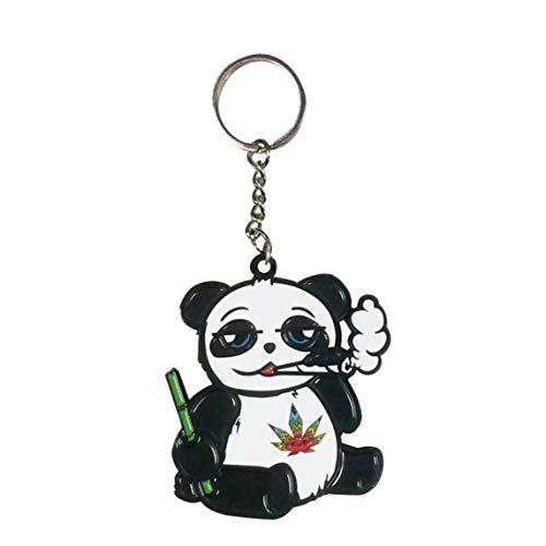 Pot Smoking Pals Panda Happy Stoned Munchy Buddy Friend - Enamel Metal Pendant Key Chains