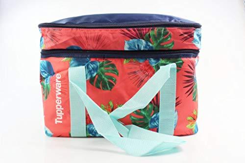 Tupperware koeltas picknicktas XXL rood/donkerblauw met handgrepen turquoise