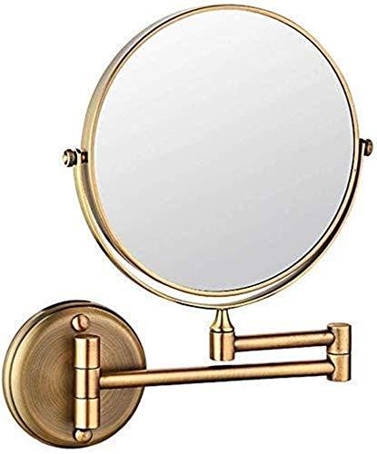 L&B-MR Espejo de maquillaje extensible plegable para baño o afeitado, espejo de maquillaje – 3 aumentos de latón dorado para encimera, espejos de tocador de afeitado en dormitorio o baño
