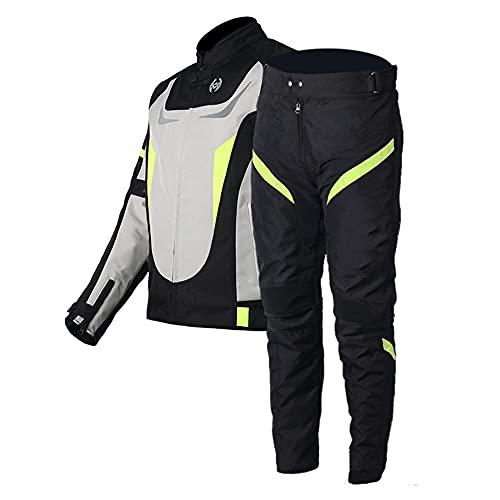 CYzpf Chaqueta de Moto Reflexivo Ropa Ligera y Transpirable Equipo Protección Impermeable Abrigo Informal Motorcycle Jackets Exteriores Accesorios para Hombres Mujeres,White,2XL