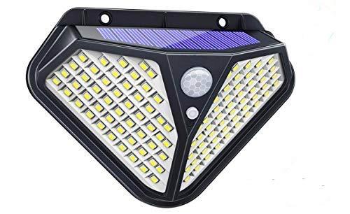 Luz Solar Exterior 98LED, KINGLEAD Luz de pared solar Sensor de movimiento 3 modos inteligentes Impermeable con 120 grados Gran angular Inalámbrico jardín nocturno Luces de seguridad brillantes