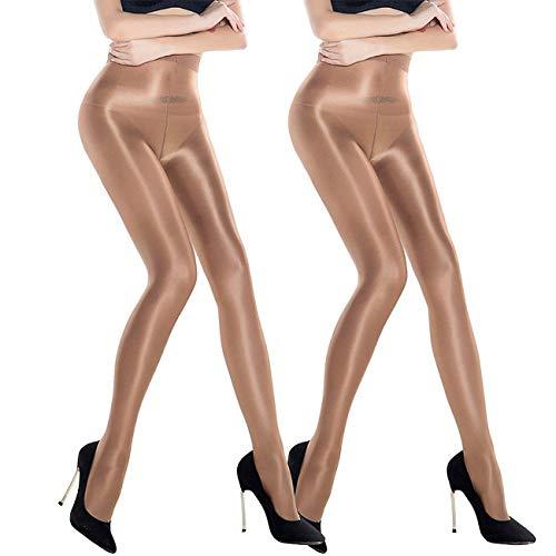 ANDIBEIQI 2 Pairs Dance Strümpfe Frauen Shaping Socken Öl Socken Shiny Silk Strumpfhosen Tanzstrumpfhosen 70den