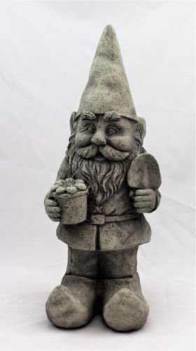 Large Garden Gnome Ornament Ceramic Stone Effect 48 cm Tall Outdoor or Indoor HOME HUT