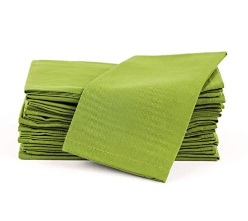 Amour Infini Baumwollservietten, 12er Pack, 45 x 45 cm, 100% ringgesponnene Premium Baumwolle, saugfähig | Grün