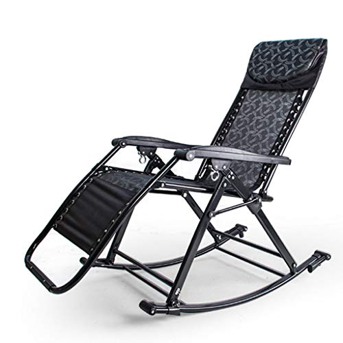 Adult Rocker Lounger, Foldable Casual Black Nap Time Gravity Reclining Chairs, Outdoor Garden Patio Sun Loungers Ideal For Summer Use