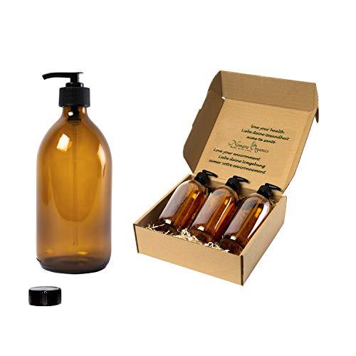 Nomara Organics® - Dispensadores de jabón para encimera, 4 Unidades de 300 ml de Vidrio ámbar. En Caja de Paja, con Bloqueo,Reutilizable Rostro/Lavado a Mano/loción/baño o Cocina.