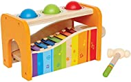 High-quality wooden musical toy, perfect for babies and children from 12 months and up Use the hammer to pound the wooden balls on to the rainbow xylophone Pull the wooden xylophone from the set and play with seperately All Hape wooden toys are made ...