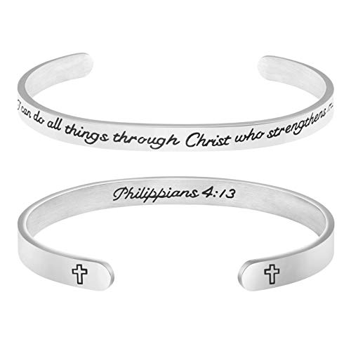 MEMGIFT Religious Bracelets for Women Inspirational Christian Gifts Bible Verse Jewelry I can do All Things Through Christ who Strengthens me Philippians 4:13