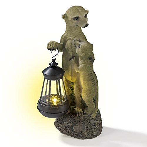 EASYmaxx Solar Leuchte Erdmännchen Familie mit Laterne | handbemalte Gartenfigur | Leuchtdauer bis zu 8 Stunden | Tageslichtsensor [ca. 30 x 14 x 11 cm]