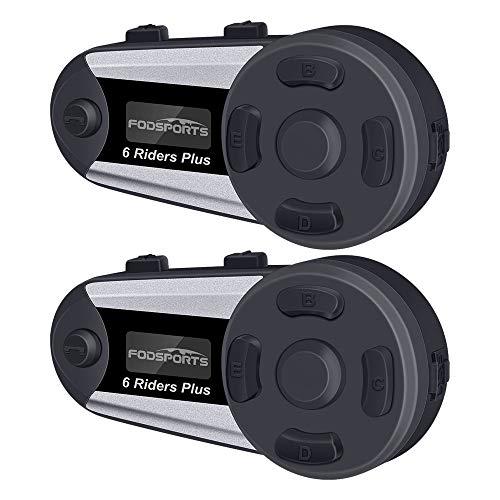 FODSPORTS Auriculares Intercomunicador Moto, 2*V6 Plus Manos Libres Auriculares Sistema de Comunicación por Bluetooth para Motocicletas (Pantalla OLED/Impermeable/Manos Libres/estéreo/GPS / 2 Mic)