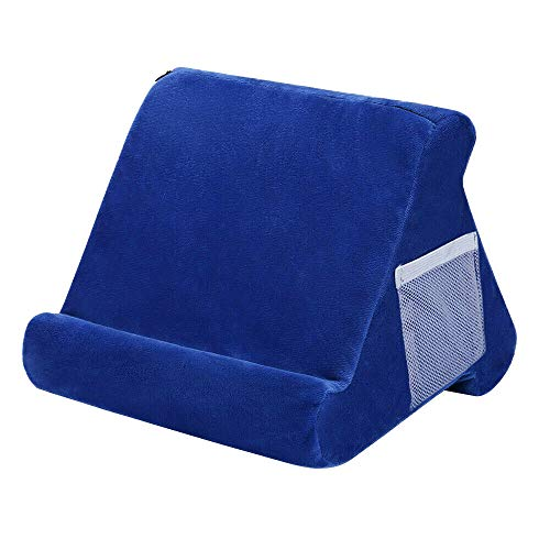 Tablet Cushion Stand,Multi-Angle Soft Pillow Lap Stand for IPad Phone Cushion Tablet Laptop Holder (blue)