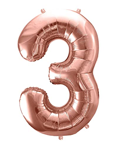 86cm XXL Folienballon Nummer 3 Geburtstag Kinder Luftballon 3. Geburtstag Mädchen Dekoration Jubiläum 3 Jahre Deko Kindergeburtstag Folienballon Zahl 3 rosegold
