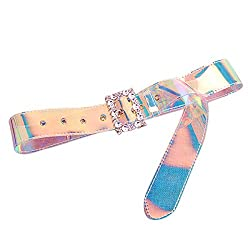 Wide Holographic Clear Belt Transparent PVC Crystal Rhinestone Buckle