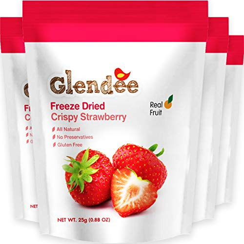 Freeze Dried Strawberry, Crispy Strawberry, 100% Real Fruit Snack, Crunchy & Naturally Whole Dried Strawberry, Healthy Snacks for Kids and Adults, 4 x 0.88 Oz Packs