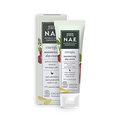 N.A.E. Crema Idratante Giorno Energia, Crema Viso con Olio di Semi d Uva e di Girasole Biologici, Formula Vegana, 50 ml