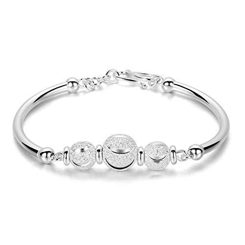 Pulsera de plata S990, joyas de plata con pulsera de perlas de transferencia de buena suerte.
