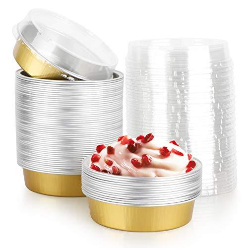 Disposable Pie Tins 4 Inch, Beasea 50 Pack Mini Tart Pans with Lids, Golden Aluminum Pie Pan Tin Tart Pans Round Oven Baking Mini Cake Pan for Pie Tart Quiche