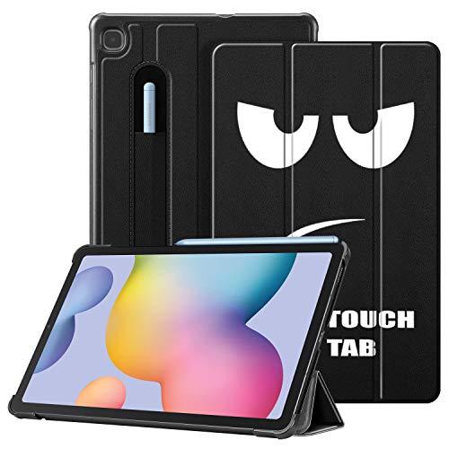 Fintie Hülle für Samsung Galaxy Tab S6 Lite - Ultra Schlank Kunstleder Schutzhülle mit Stifthalter, Auto Schlaf/Wach Funktion für Samsung Tab S6 Lite 10.4 SM-P610/ P615 2020, Don't Touch