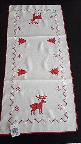 2547-99123T Nappe de table de Noël rouge et blanc avec renne et cerf 40 x 170 cm 100 % polyester