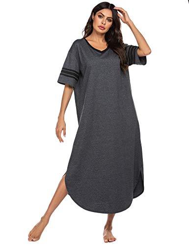 Ekouaer Sleepwear Womens Loungewear Soft Long Nightgown Short Sleeve Pajama House Dress V Neck Sleep Shirts Nightshirt
