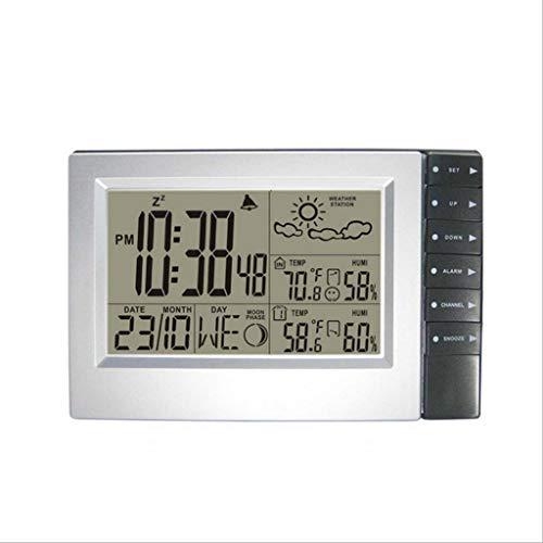 LCD sans Fil Station météo Digtal Intérieur/extérieur Température électronique Humidité Prévisions météo Snooze Réveils Surveillance météo Horloges (Color : Silver, Taille : 7.87 * 5.11inch)