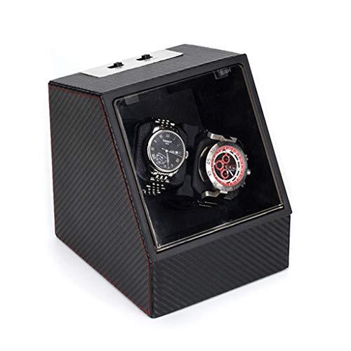 MZPWJD Cajas giratorias Caja Giratoria para Relojes,Look De Fibra Carbono Automatico Watch Winder Madera Almacenamiento 2 Reloj Pulsera (Color : B, Size : 170×154×185mm)