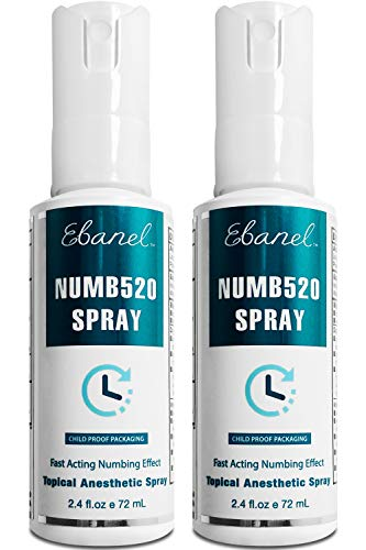 Ebanel 2-Pack 5% Lidocaine Spray Maximum Strength, 4.8 Fl Oz Numbing Spray with 0.25% Phenylephrine, Topical Anesthetic Pain Relief Spray with Arginine, Allantoin, Secured with Child Resistant Cap