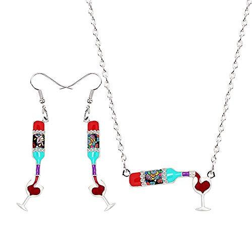 Xx101 Botella de la aleación del Esmalte del Vino Rojo Copa cuelgan los Pendientes de Gota Colgante del Collar La joyería de la Vendimia Mujeres Accesorios Bijoux Chica Nixx0 (Color : A)