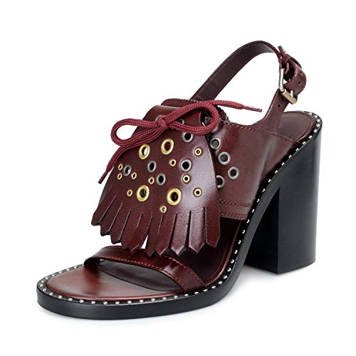 BURBERRY London Women's Beverley Leather Ankle Strap Heeled Sandals Shoes Sz US 10 IT 40 Burgundy