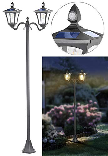 Royal Gardineer Solarleuchten Garten: Solar-LED-Gartenlaterne, 2 flammig, PIR- & Dämmerungssensor, 600 Lumen (Solarlampe mit Bewegungsmelder)
