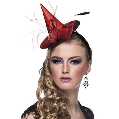Tiara cappellino strega Ceara rosso con decorazioni