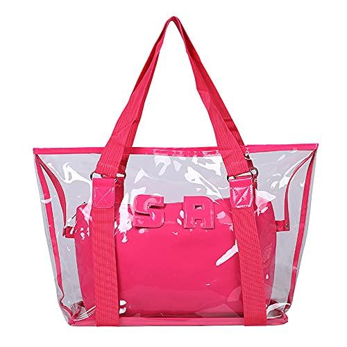 QUQU Transparente Strandtasche Damenhandtasche Pvc Kunststoff Kosmetiktasche Zweiteiliger Anzug Geeignet Für Reisen Spielen Freizeit Und Einkaufen Rosa