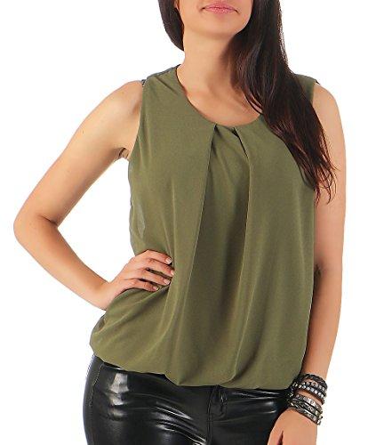 Malito Damen Bluse ärmellos   Tunika mit Rundhals   leichtes Blusenshirt   Elegant - Shirt 6879 (Oliv)