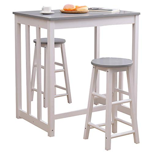 Yaermei Wooden Bar Table and Stool High Chairs Kitchen Dining Set Pine Wood UK Stock (1 table+2 stools)